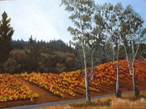 Vineyard Beyond the Eucalyptus Oil Painting